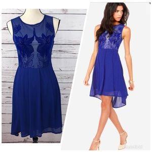 LULU'S Foliage Before Beauty Blue Dress Med NEW